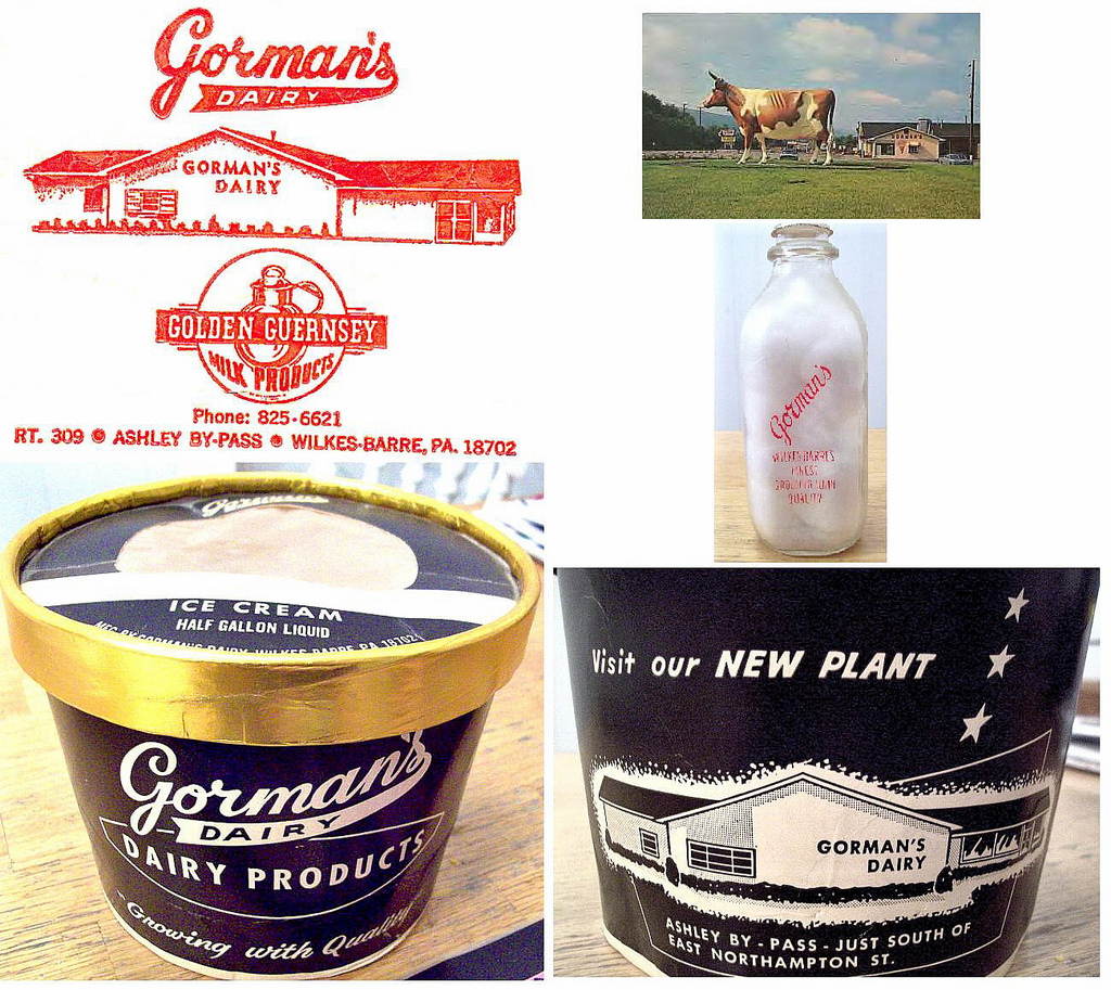 A collage showing some of the packaging and excellent mid-century graphics the now-defunct Gorman's creamery used. The top right corner is a scan of a postcard prominently displaying Three-Oh-Ninah. [Image courtesy of flickr user ____.]